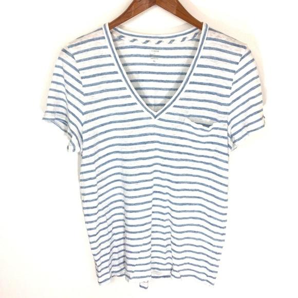 bedb9263611249 J. Crew Tops | J Crew Stripe Vneck Pocket Tshirt 100 Linen | Poshmark